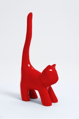 HAL - 34cm - Statue mini chat colori rouge taille XS