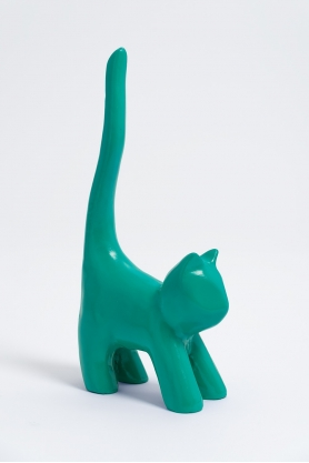 HAL - 34cm - Statue mini chat colori vert canard taille XS