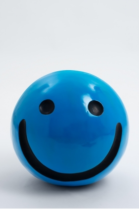 WORCESTER - 40cm - Statue emoticone smiley taille S colori bleu clair