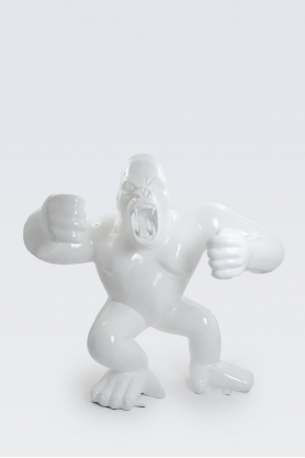 KINSHASA - 210cm - Statue gorille agressif king kong géant taille XL colori blanc