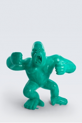 KINSHASA - 210cm - Statue gorille agressif king kong géant taille XL colori vert canard