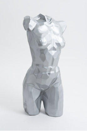 FLORENCE - 95cm - Statue buste origami taille M colori argent