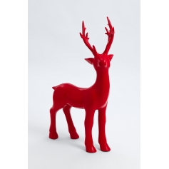 SANZEY - 75cm - Statue cerf baby lisse taille M colori rouge