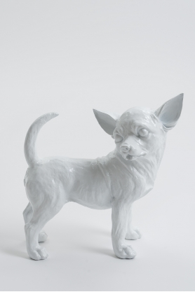 ACAPULCO - 30cm - Statue chien chihuahua debout taille S colori blanc
