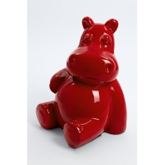 DIVO - 45cm - Statue hippopotame assis taille S colori rouge