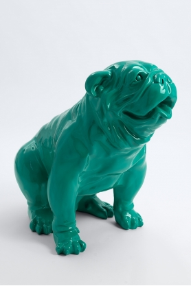 MANCHESTER - 70cm - Statue chien bouledogue anglais assis taille M colori vert ramin
