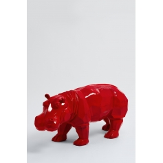 ISSIA - 95cm - Statue hippopotame origami taille M coloris rouge