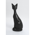 YPRES - 95cm - Statue chat fin assis taille L colori gris anthracite