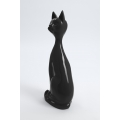YPRES - 60cm - Statue chat assis fin taille M coloris gris anthracite