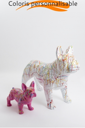 Pack personnalisable - bouledogue français PARIS 90cm et PARIS 45cm design splash colori au choix