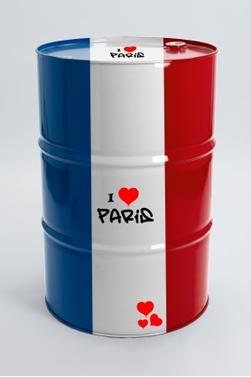ALESIA - 90cm - Tonneau baril en métal taille L design drapeau france stickers I love Paris