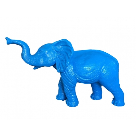 statue sculpture elephant xxl 180 cm debout colori bleu sublimazur. Black Bedroom Furniture Sets. Home Design Ideas