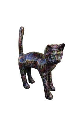 STATUE SCULPTURE GEANT RESINE CHAT ROUGE 105 CM NEUF