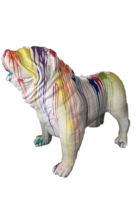 STATUE SCULPTURE CHIEN BOULEDOGUE ANGLAIS XXL 180 CM DESIGN TRASH BLANC