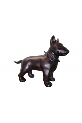 STATUE SCULPTURE MINI BULL TERRIER 60CM COLORI NOIR MAT