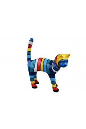 STATUE SCULPTURE GEANT RESINE CHAT 105 CM DESIGN BLEU MULTICOLORE
