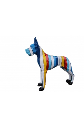 STATUE SCULPTURE dogue allemand 120 cm design bleu multicolore
