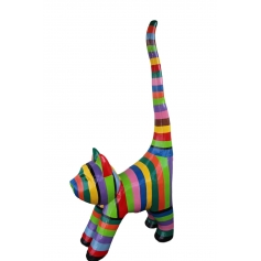 STATUE SCULPTURE RESINE CHAT GEANT  XXL DESIGN MULTICOLORE