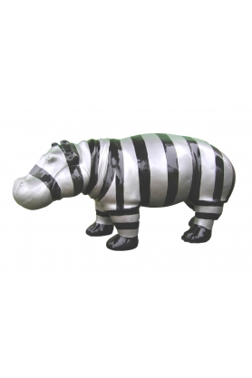 STATUE SCULPTURE HIPPOPOTAME 90CM ULTRA LISSE BRILLANT DESIGN SPLASH NOIR